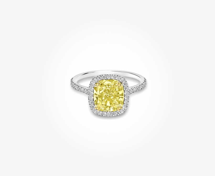 1 Of - Yellow Gold Canary Diamond Halo Engagement Ring, transparent png #5686420