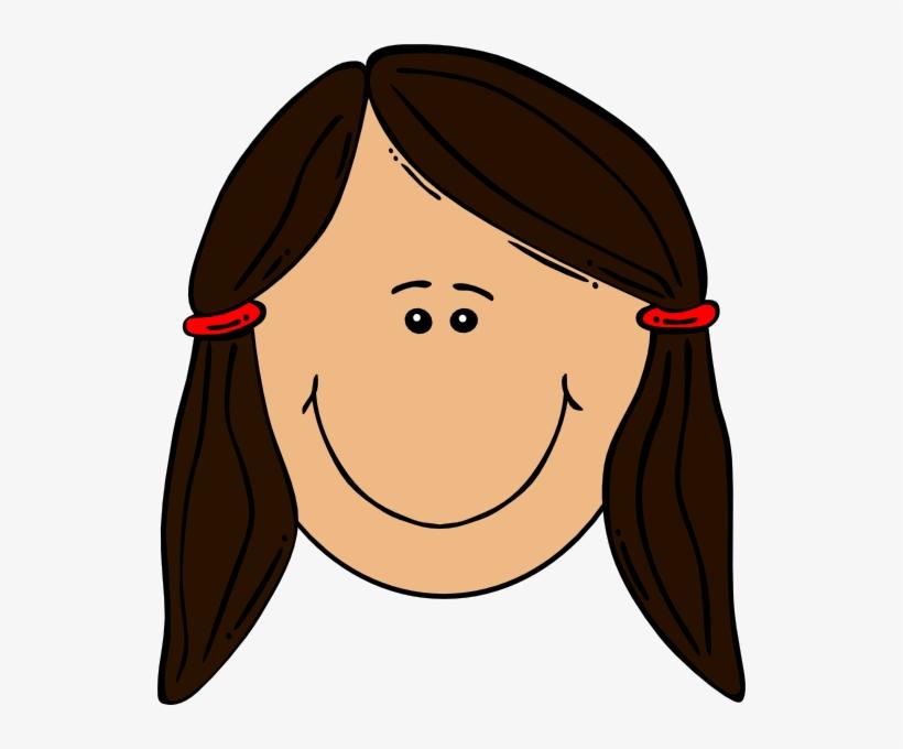 Girl brown hair. Clipart cute cartoon with
