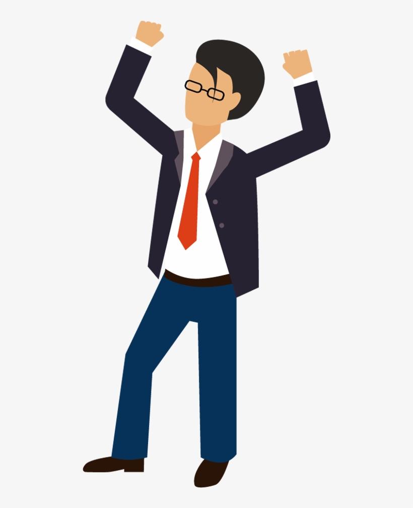 Excited Cartoon Group - Cartoon Man Hands Up, transparent png #576567