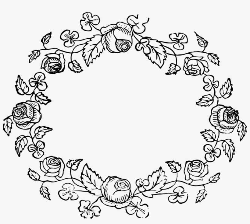 Wreath Floral Design Rose Flower Drawing - Black Floral Frames Png, transparent png #577608