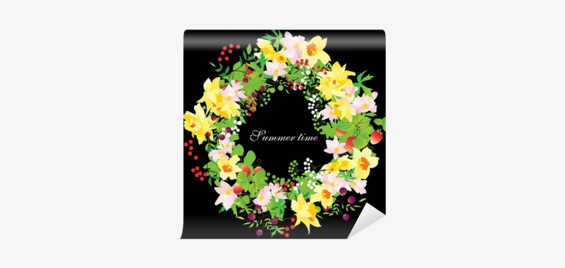 Vector Summer Floral Wreath With Daffodils On Black - Wreath, transparent png #578051