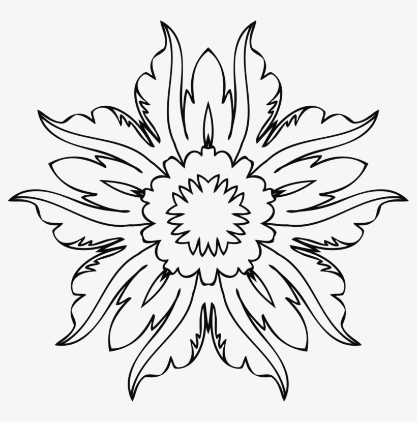 Flower Line Art Wikiclipart - Flower Line Art Png, transparent png #579310