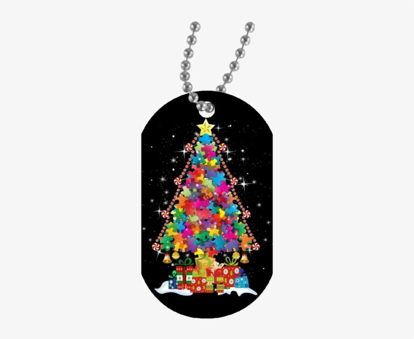 Autism Awareness Puzzle Christmas Tree Necklace - Autism Awareness Mugs Christmas Tree, transparent png #5703111