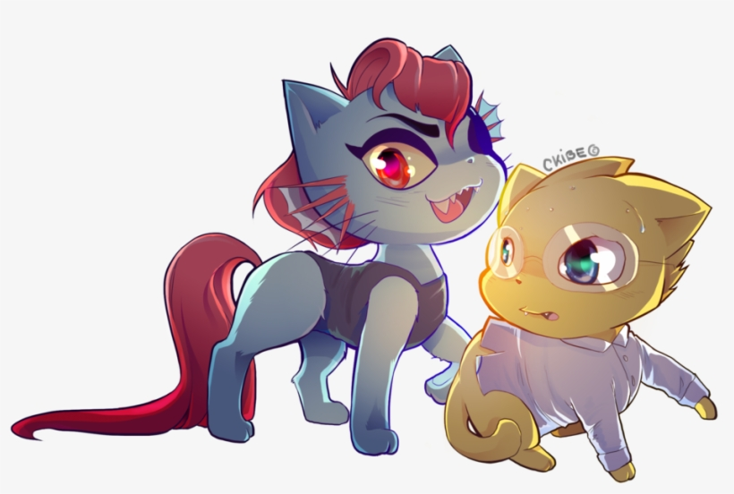 Undyne And Alphys Cat Version By Ckibe - Undertale Characters As Cats, transparent png #5711472