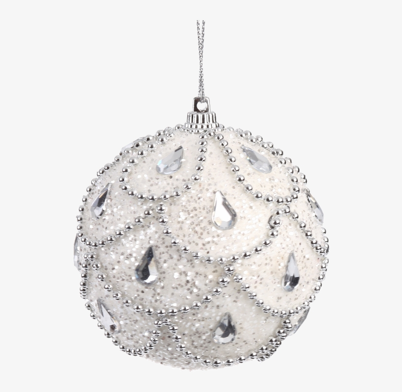 8cm Hanging Ball Silver And White Xmas Baubles, Beaded - White Hanging Christmas Ornaments, transparent png #5720679