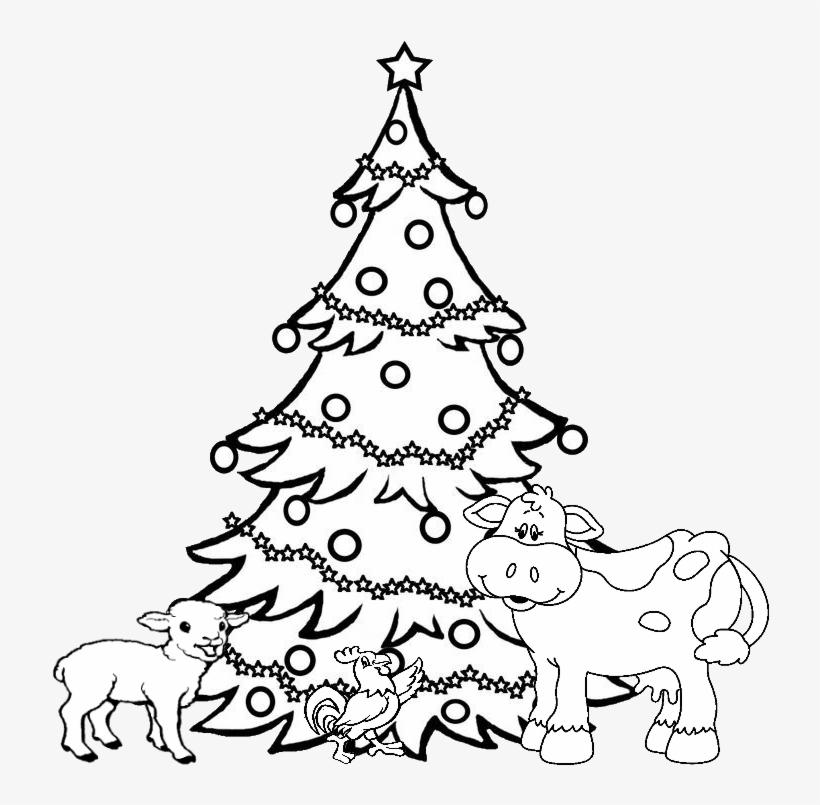 Xmas Animals Tree - Line Drawing Of Christmas Tree, transparent png #5728252
