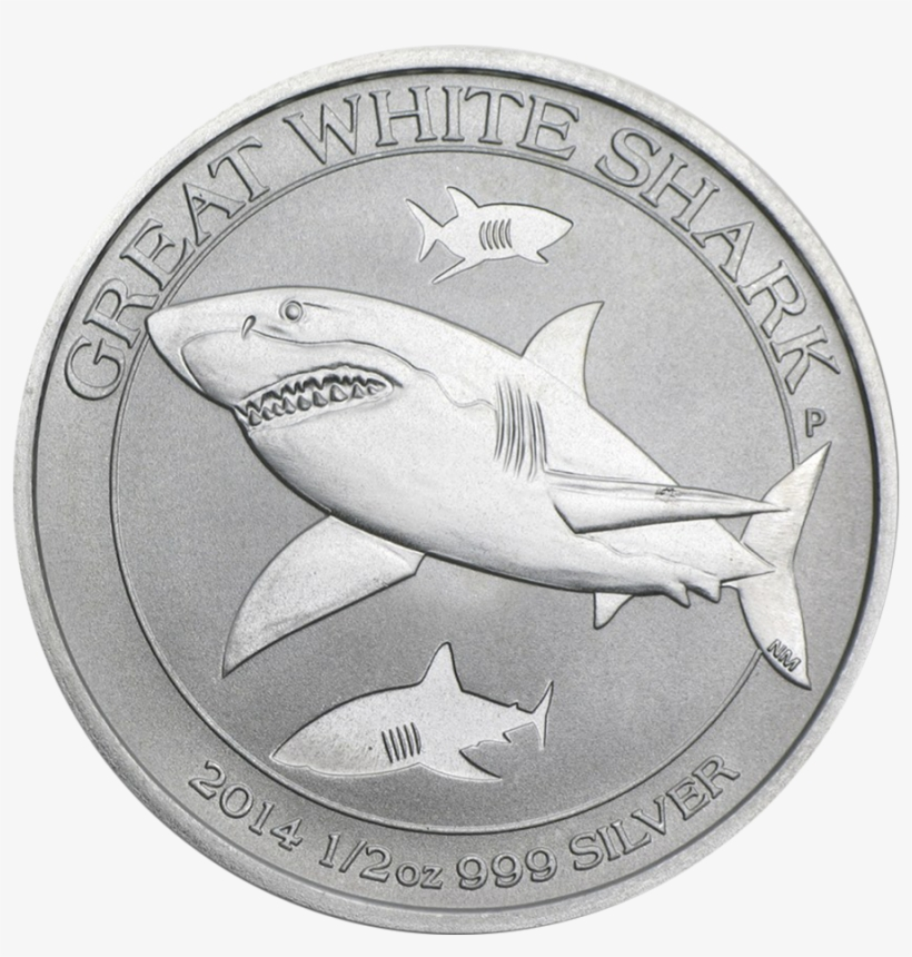 2014 Australian Great White Shark 1/2oz Silver Coin - 1 2 Oz Great White Shark, transparent png #5747162