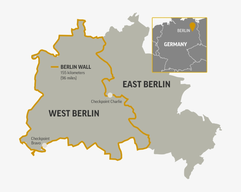 Map Of The Berlin Wall Separating West Berlin And East - East West Berlin Wall Map, transparent png #5755548