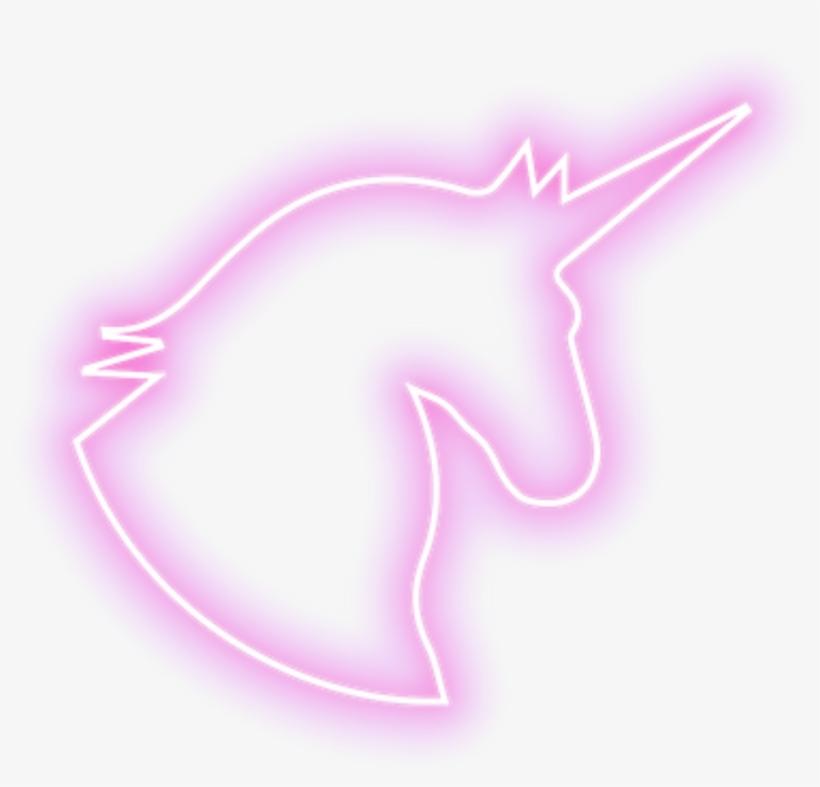 Neon Pink Unicorn Outline Kawaii Kpop - Pink Unicorn Outline, transparent png #5761376