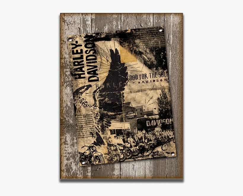 Harley-davidson® Vintage Ad Collage Sign - Harley-davidson Bike Shop Flyer Wooden Sign | Small, transparent png #5764253