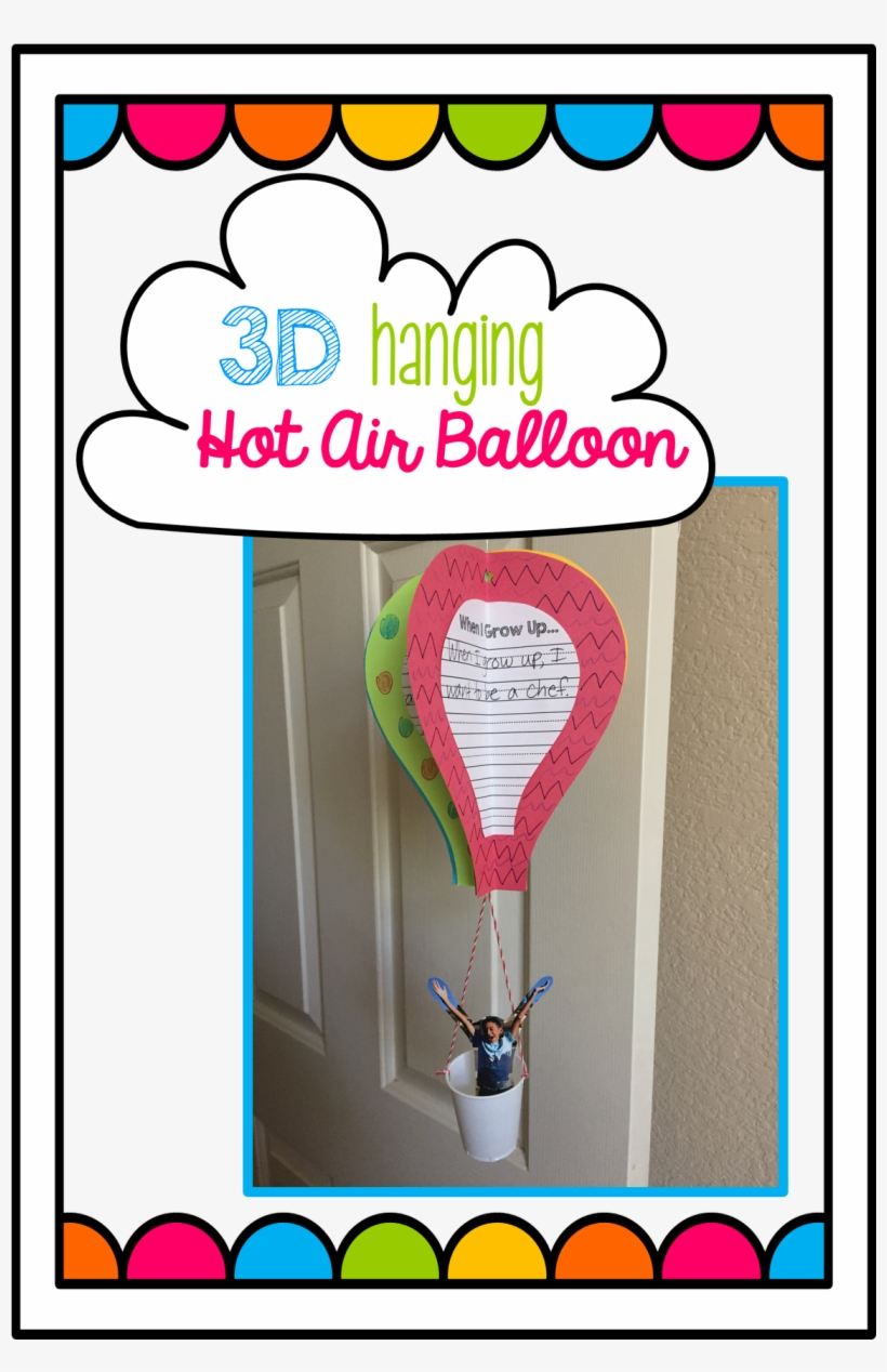 3d Hot Air Balloon To Hang In Classroom For Back To - Escola Happy Baby, transparent png #5766921