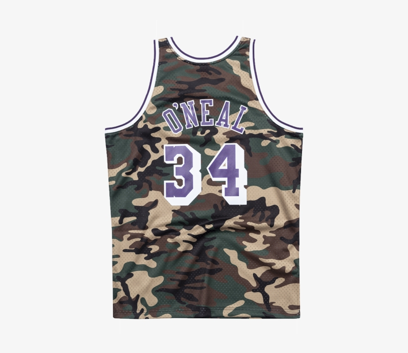 Los Angeles Lakers Shaquille O'neal Woodland Camo Swingman - Los Angeles Lakers, transparent png #5772416