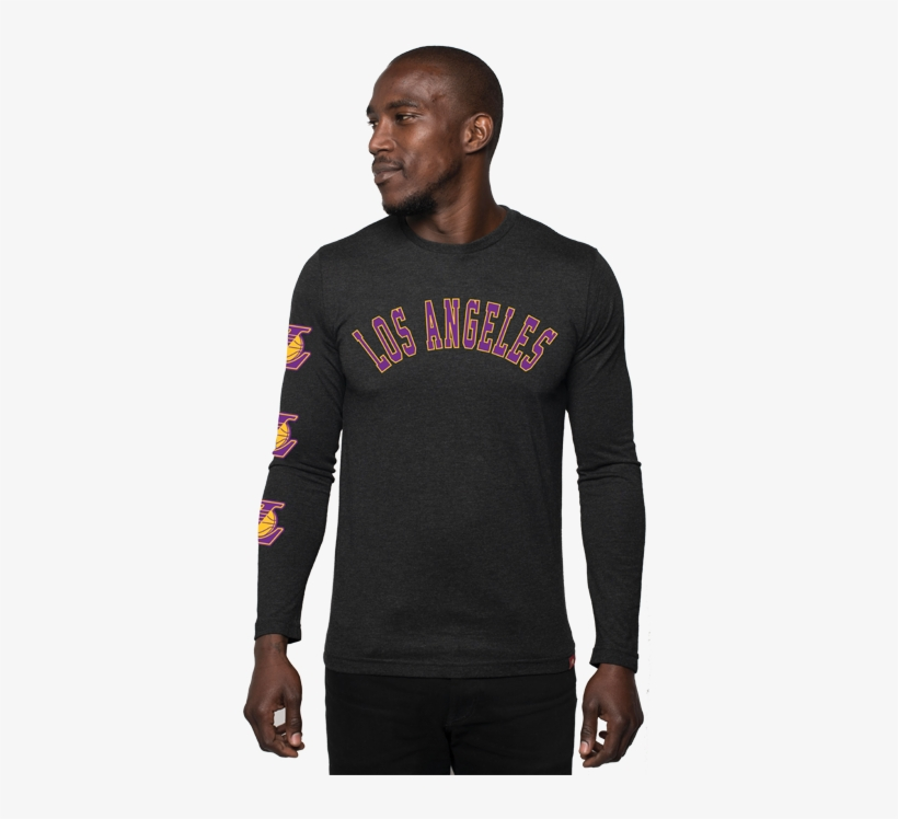 Los Angeles Lakers Comfy La Long Sleeve T-shirt - Long-sleeved T-shirt, transparent png #5772596