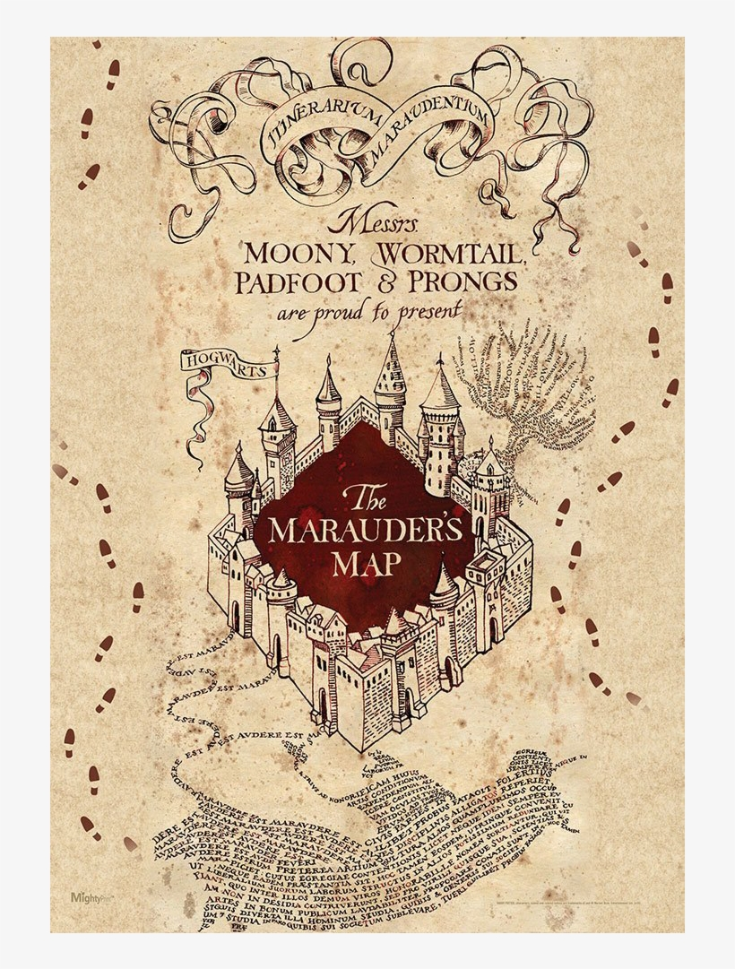 Marauders Map Mightyprint Wall Art Print Harry Potter - Printable Harry Potter Map, transparent png #5785573