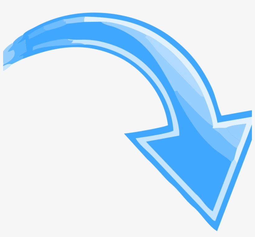 Blue Curved Arrow Transparent Pointing Down Right The - Arrow Pointing Down Right, transparent png #582932