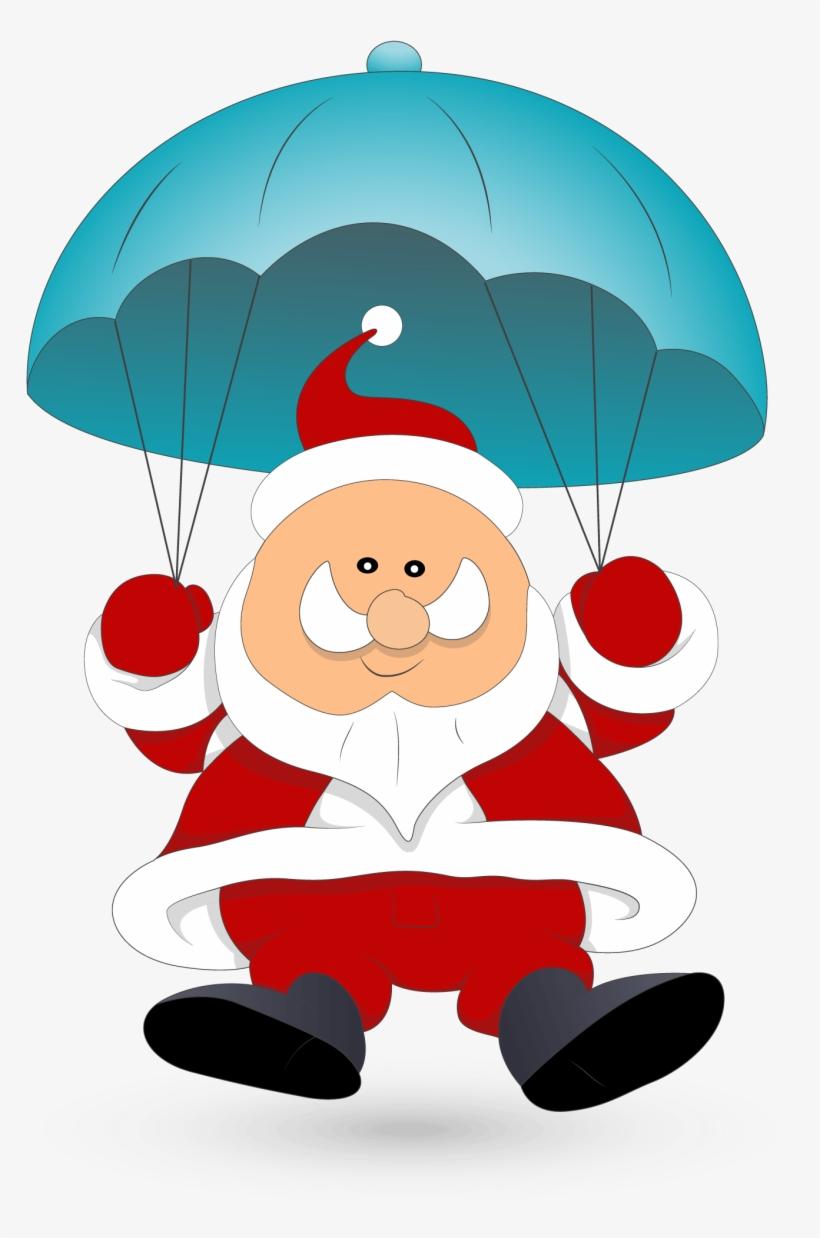 Santa Clipart Parachute - Santa Parachute Clipart, transparent png #585293