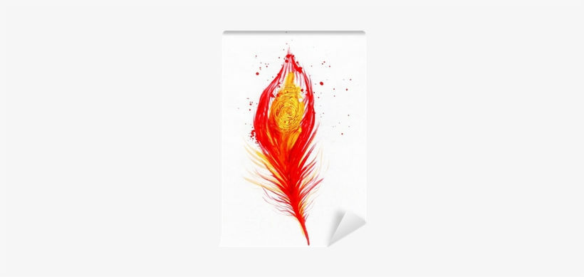 Watercolor Image Of Red Peacock Feather Wall Mural - Photography, transparent png #588570