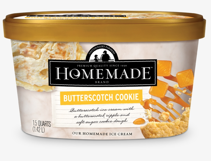 Homemade Brand Butterscotch Cookie Ice Cream 48oz - Homemade Butterscotch Cookie Ice Cream, transparent png #5804186