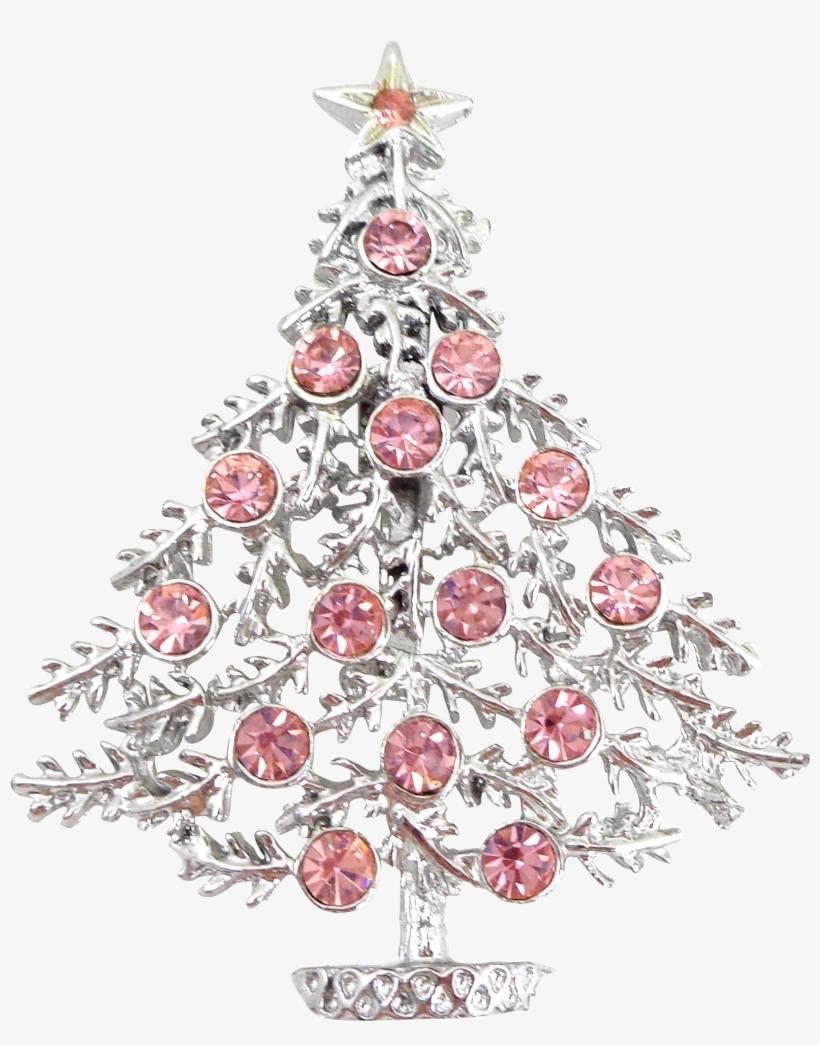 Vintage Pink Rhinestone Christmas Tree Signed Pink Christmas Tree