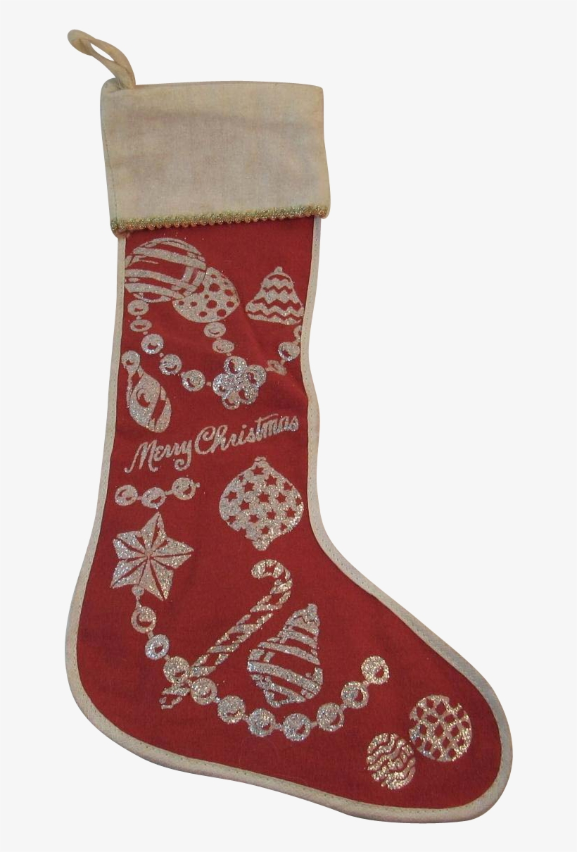 Red Flannel Christmas Stocking With Silver Glitter - Christmas Stocking, transparent png #5814137