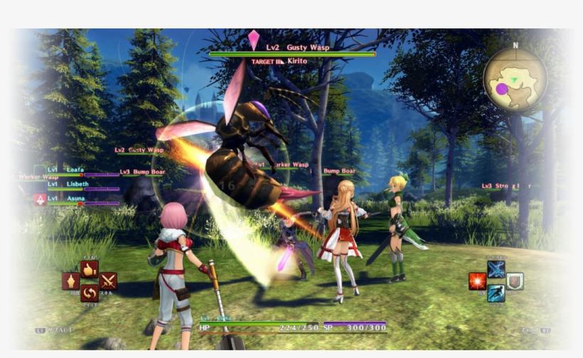 Hollow Realization Kirito Asuna Leafa Lisbeth In Battle