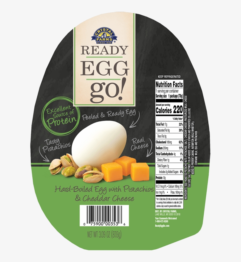Hard-boiled Egg With Pistachios & Cheddar Cheese - Crystal Farms Ready Egg Go, With Cashews, transparent png #5863014