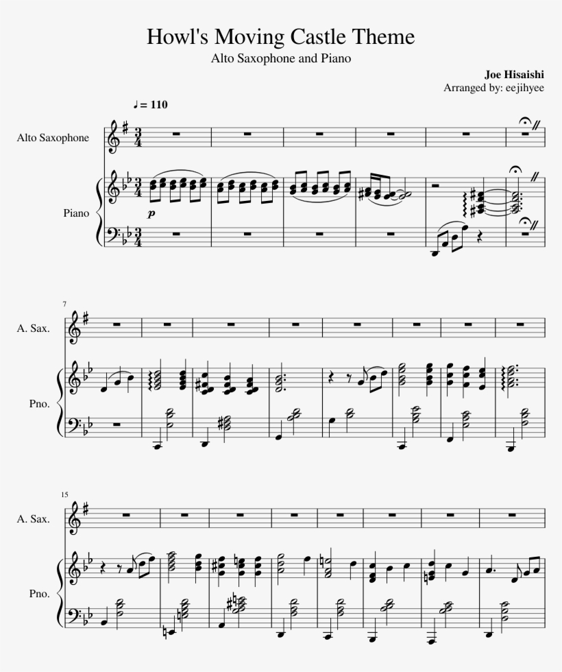 Howl's Moving Castle Theme Sheet Music For Piano, Alto - Boogie Drowning Piano Sheet Music, transparent png #5863318