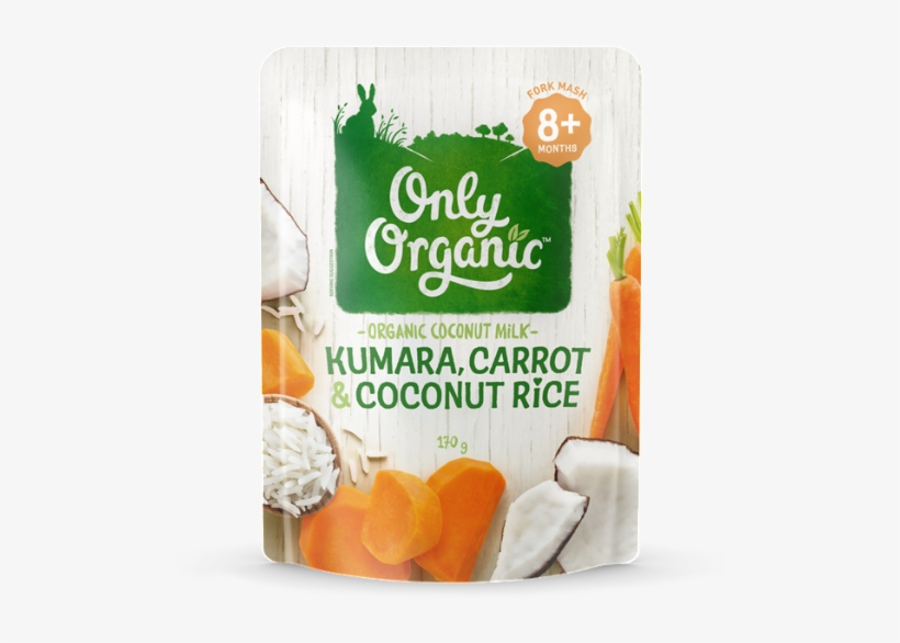 Only Organic Kindy Kumara, Carrot & Coconut Rice - Only Organic Creamy Rice Pudding Pouch 120g, transparent png #5886308