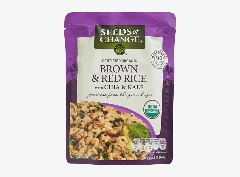Brown & Red Rice With Chia & Kale - Seeds Of Change Brown & Red Rice, transparent png #5886887