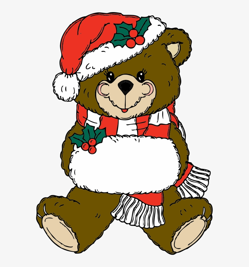 Vector Black And White Clip Art At Clker Com Vector - Christmas Teddy Bear Clip Art, transparent png #590539