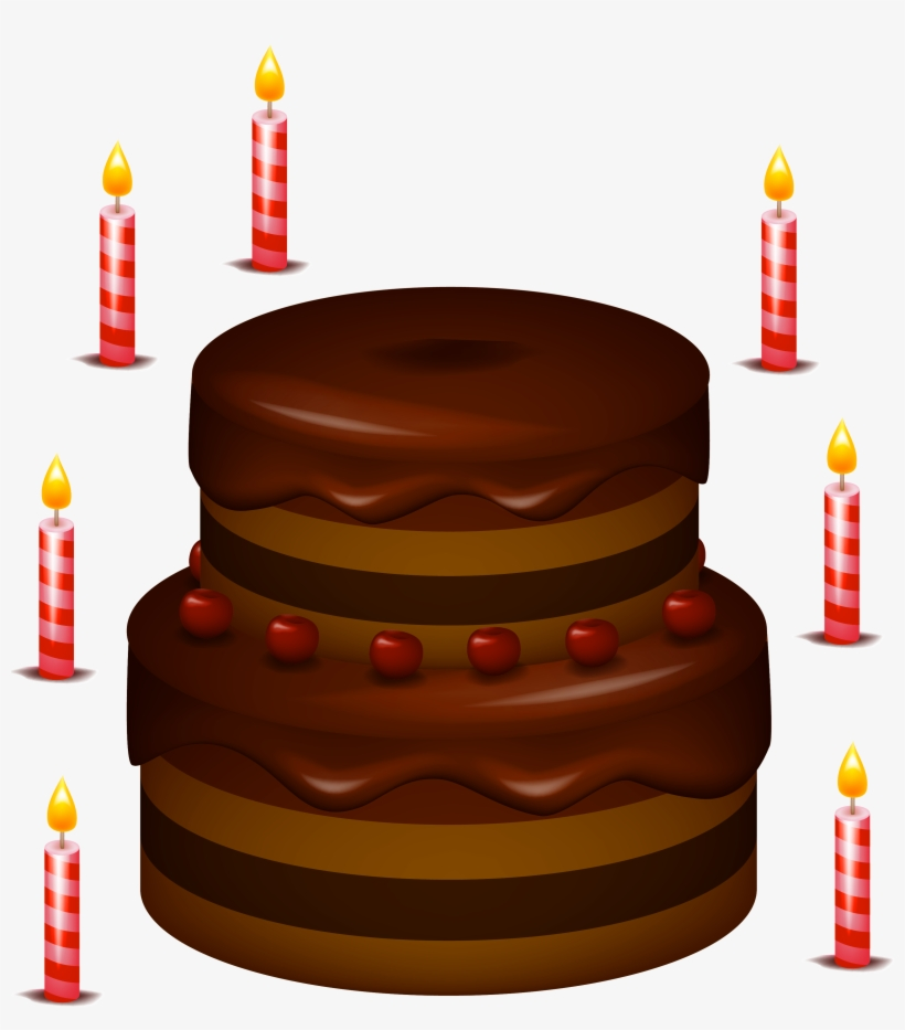 Chocolate Cake With Candles Png Clipart Chocolate Birthday Cake