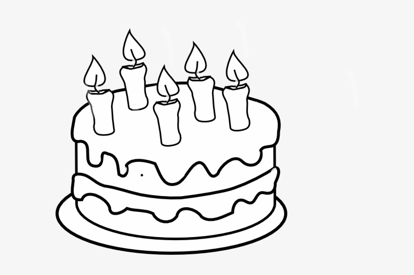 Clip Art Black And White Bday Cake 5 Candles