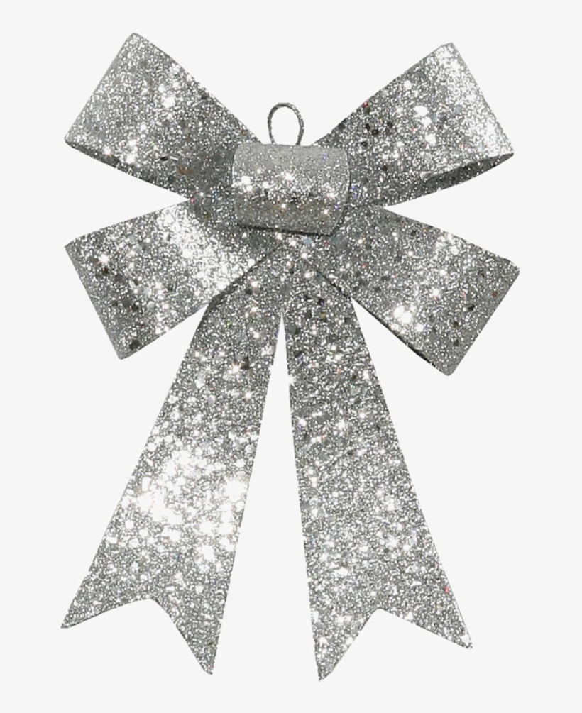 """Glitter Bow Ribbon Png High Quality Image - 7"""" Silver Sequin And Glitter Bow Christmas Ornament, transparent png #592248"""