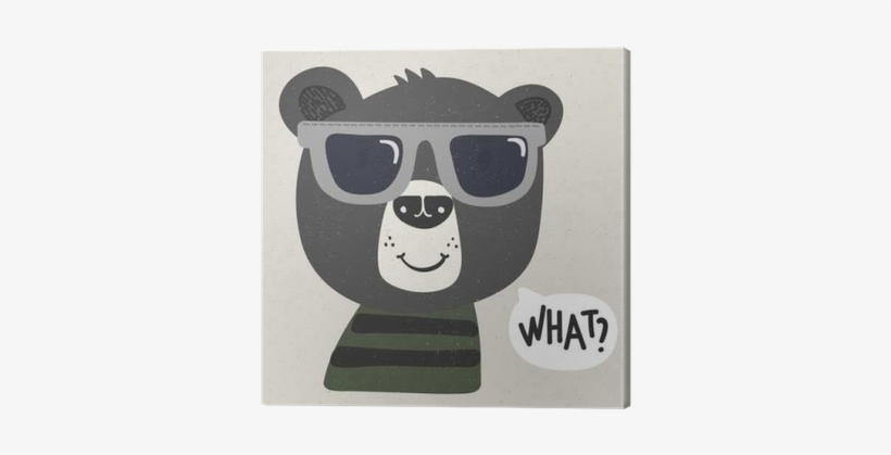 Cool Cartoon Bear With Sunglasses Canvas Print • Pixers® - Sunglasses, transparent png #595489