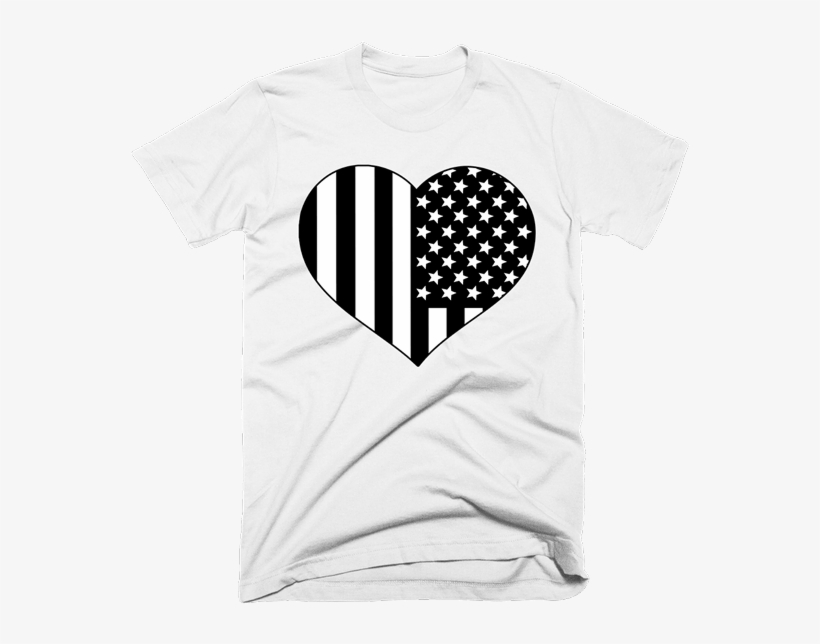 Black And White American Flag Heart Shirt - Kanye Attitude With Drake Feelings Hoodie Uk, transparent png #595781