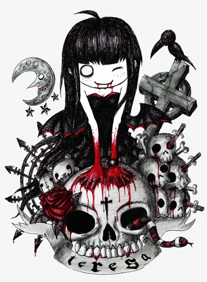 Vector Transparent Library Alice Drawing Creepy Emo Dibujos Free