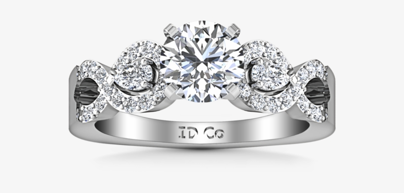 Pave Engagement Ring Chloe 14k White Gold - Round Diamond Pave Engagement Ring Chloe 14k White, transparent png #5912667