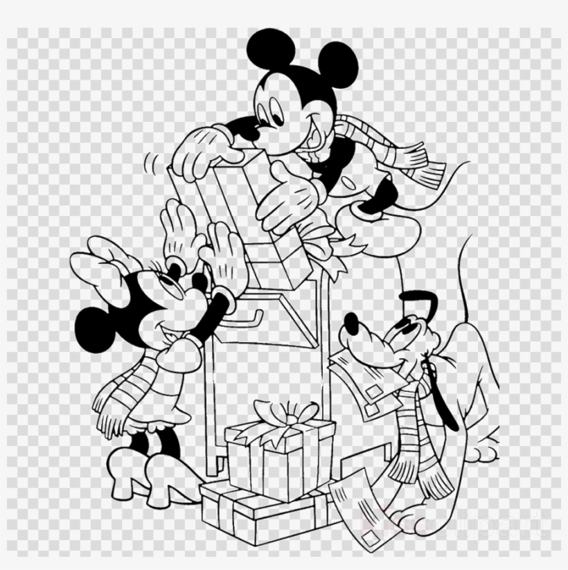 Mickey Mouse And Friends Drawing Christmas Clipart - Mickey Mouse Coloring Pages Disney Christmas, transparent png #5925312