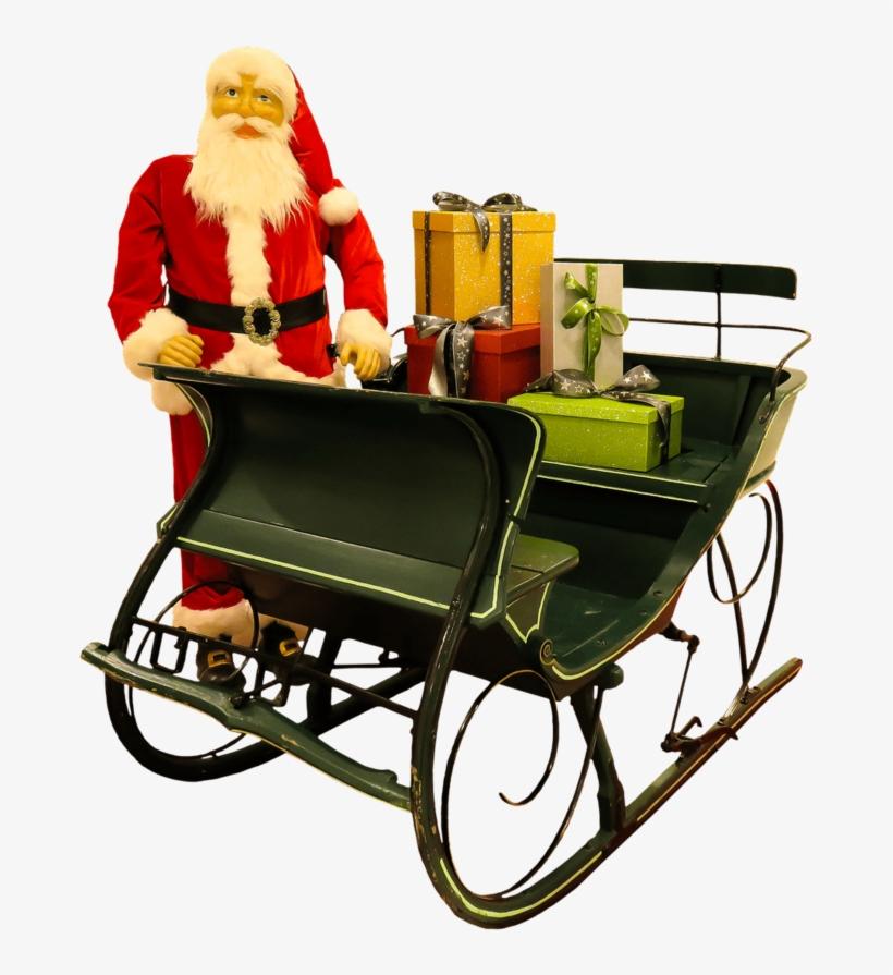 Santa Claus Puppet Next To Sleigh - Santa & Sleigh Transparent Png, transparent png #5968012