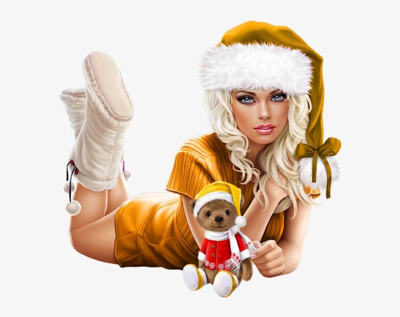 Tubes Femmes Noel Christmas Girls Xmas Png - Christmas Femmes Tubes Png, transparent png #5989117