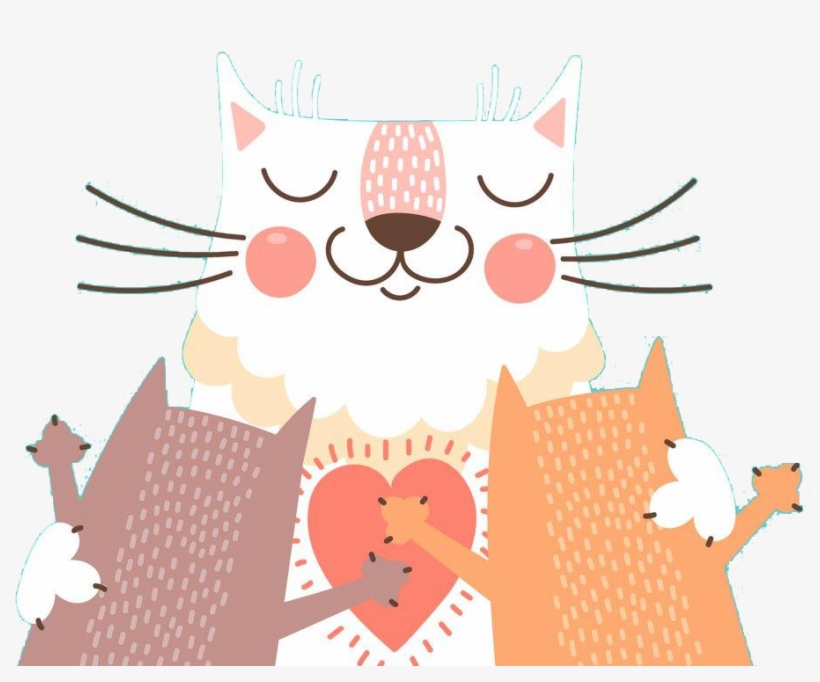 Cat Kitten Illustration Transprent Png Free Download - Dia Dos Pais Gato, transparent png #60210