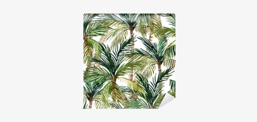 Watercolor Palm Tree Seamless Pattern Wall Mural • - Watercolor Painting, transparent png #60726