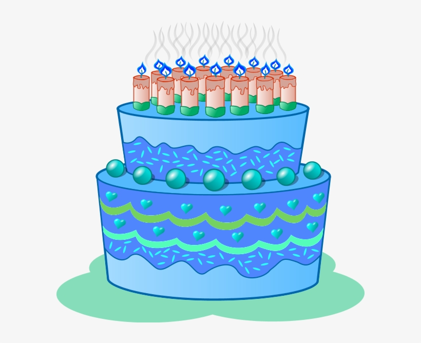 Birthday cake blue. Clip art clipart png