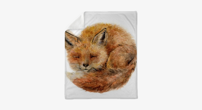 Watercolor Cute Sleepy Fox Isolated On White - Black Forest Decor Baby Fox Indoor/outdoor Pillow, transparent png #65202