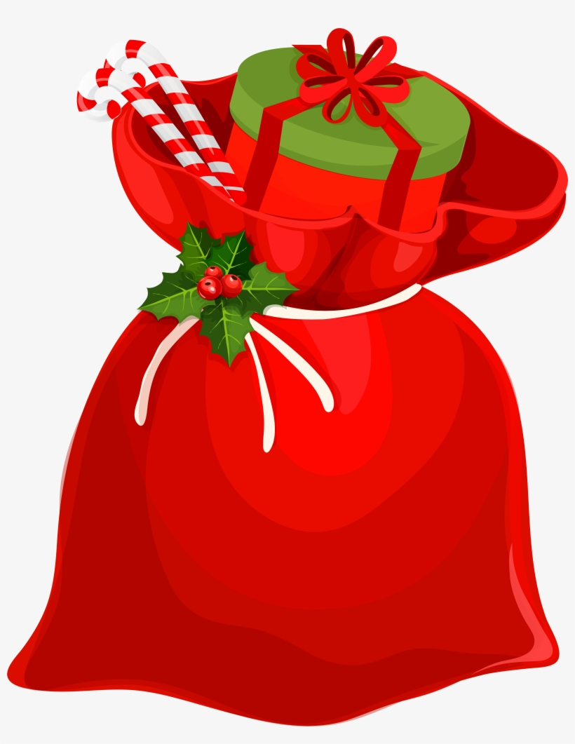 Christmas Santa Bag Png Clip Art Image - Santa Claus Gift Bag, transparent png #66068