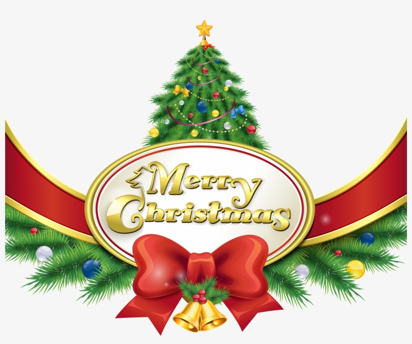 Merry Christmas With Tree And Bow Png Clipart Imageu200b - Christmas Tree Merry Christmas Png, transparent png #66139