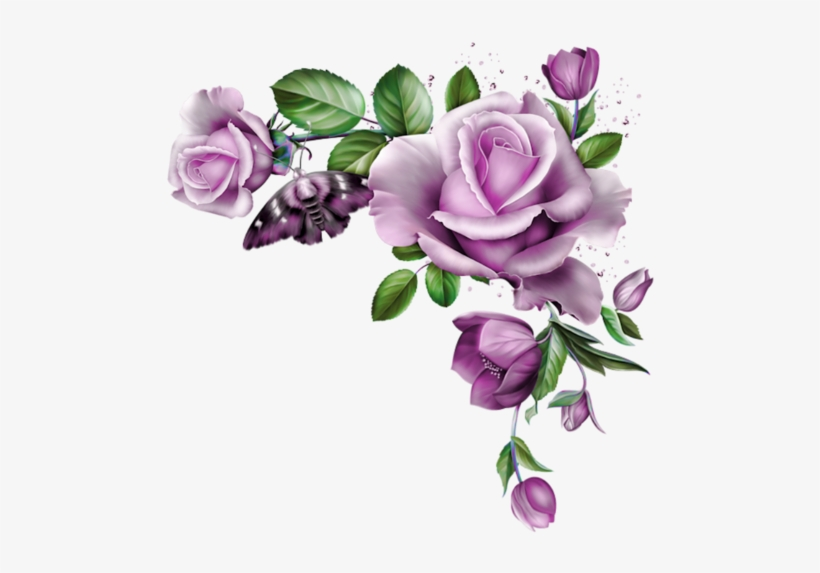 Purple Roses, Clay Flowers, Image Search, Diy Crafts, - Rose Flowers Corner Png, transparent png #66212