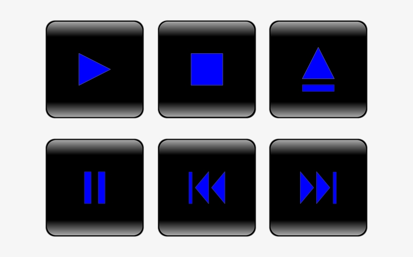 Button, Controls, Player, Stop, Forward, Rewind, Pause - Multimedia Buttons Png, transparent png #66594
