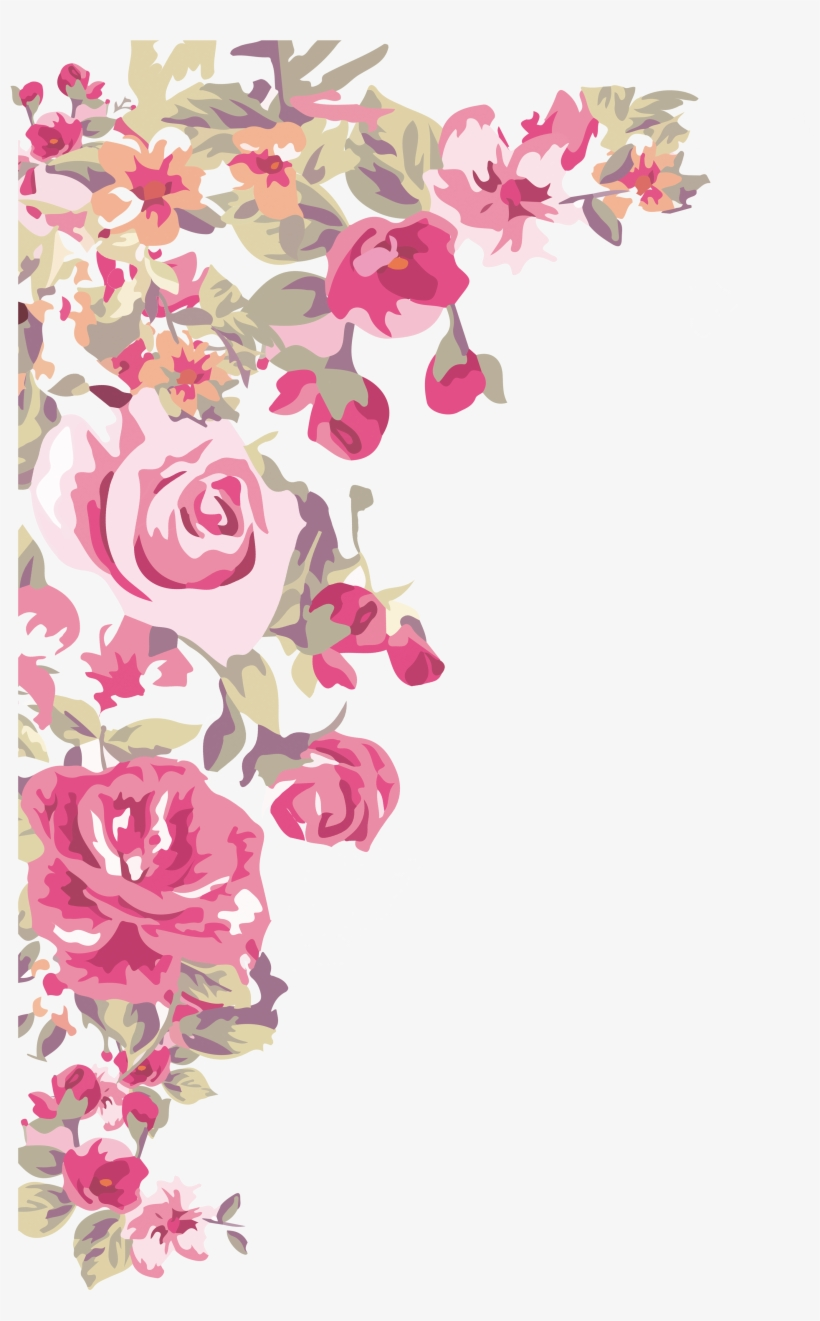 Flower Wallpaper Painted Transprent - Border Design Corner Flower, transparent png #66616