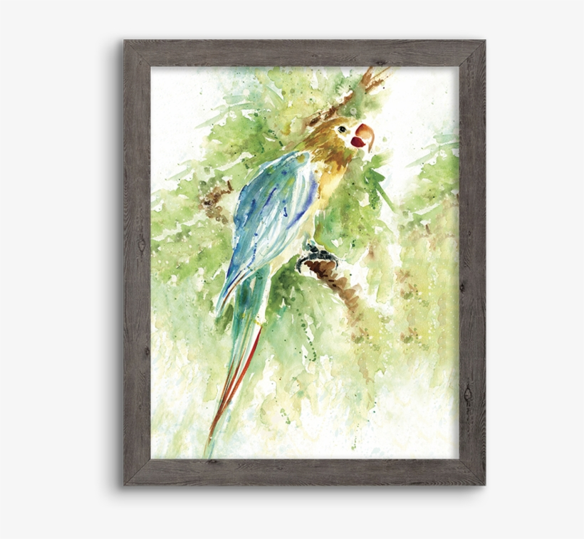 Watercolor Parrot - Palm Island Home Island Beauty I Wall Art - One Size, transparent png #66751